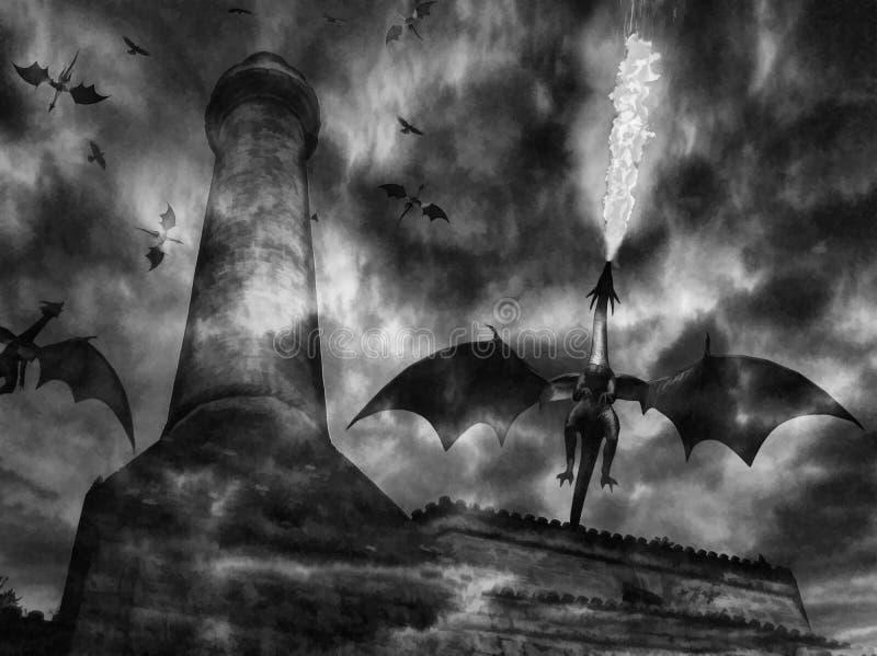 Mörk slott för drake Digital illustrationkonst stock illustrationer