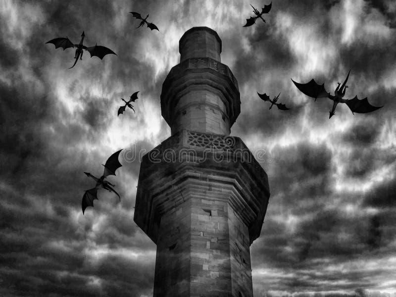 Mörk slott för drake Digital illustrationkonst vektor illustrationer