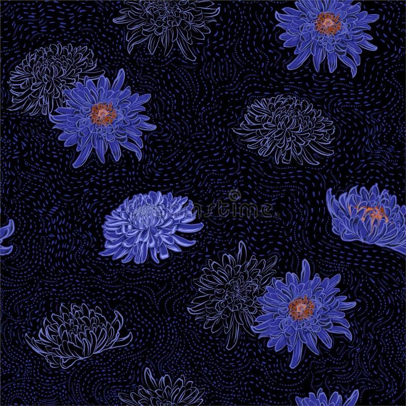 Mörk sommarnatt av orientaliska blomma blommor för krysantemum med den utdragna borstelinjen sömlös modellvektor för hand vektor illustrationer