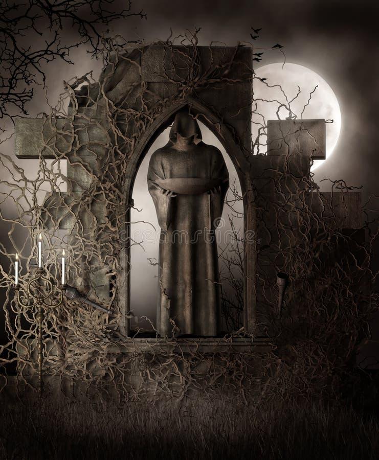 Mörk staty med vines royaltyfri illustrationer