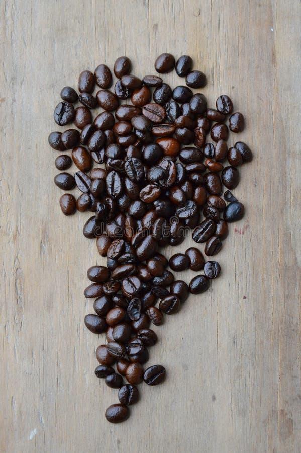 Mörk stekkaffeböna på träbräde royaltyfria bilder