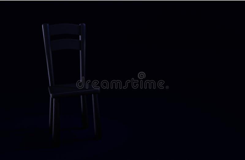 Mörk stol på ett mörkt rum stock illustrationer