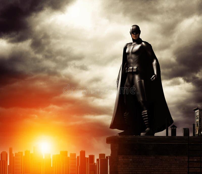 Mörk Superhero på tak som förbiser cityscape royaltyfri illustrationer