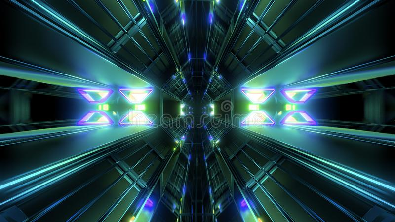 Mörk svart utrymmetunnel med glödande ljus 3d som framför bakgrund stock illustrationer