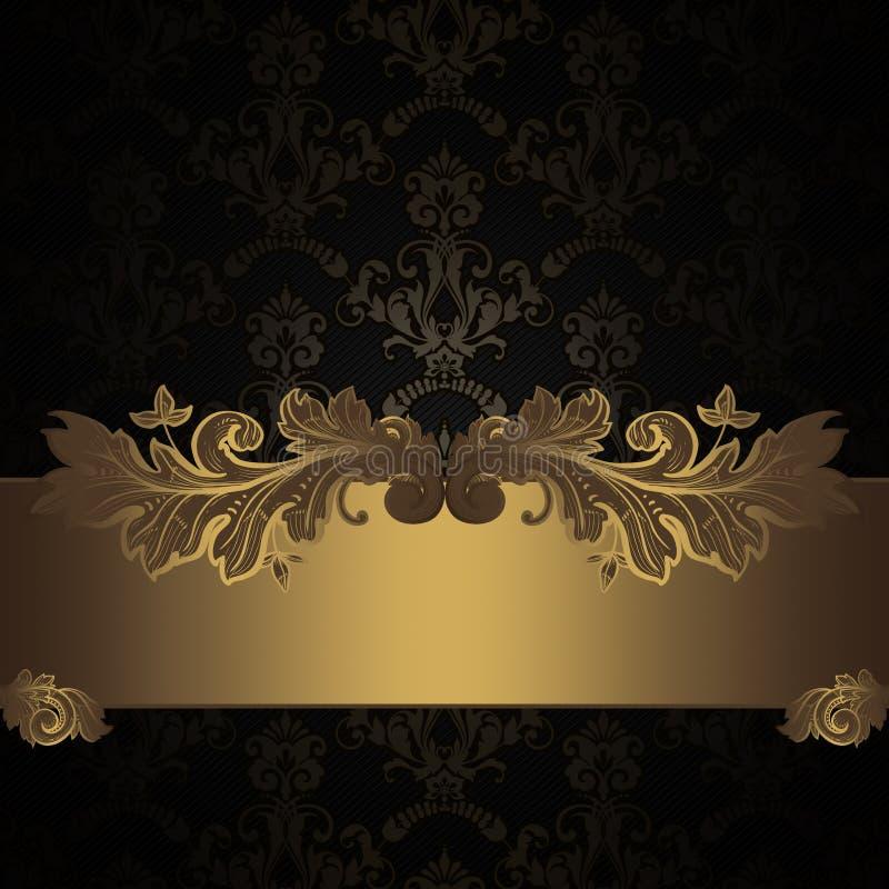 Mörk tappningbakgrund med den dekorativa gränsen vektor illustrationer