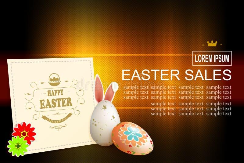 Mörk textursammansättning för påsk med ägg och den ljusa fyrkantiga ramen, royaltyfri illustrationer