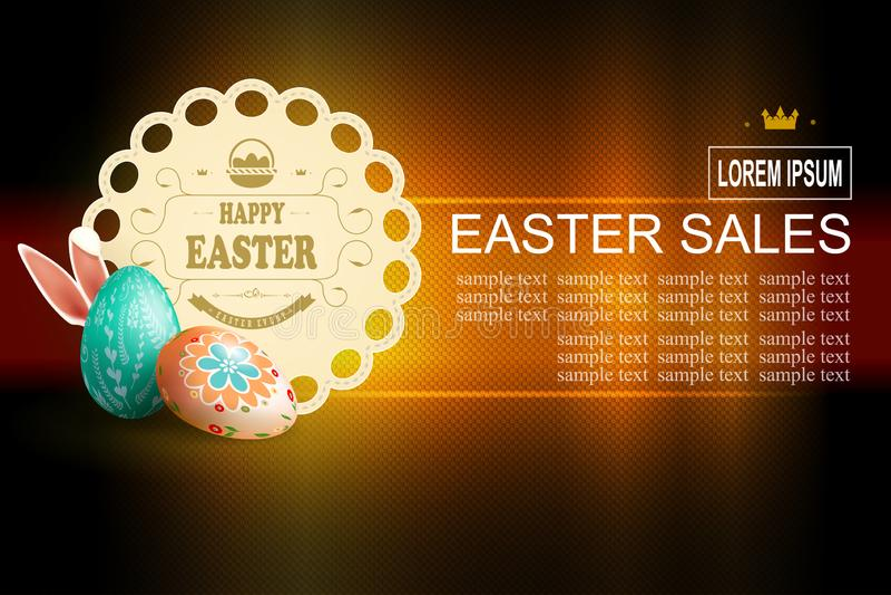 Mörk textursammansättning för påsk med ägg och den ljusa runda ramen, royaltyfri illustrationer