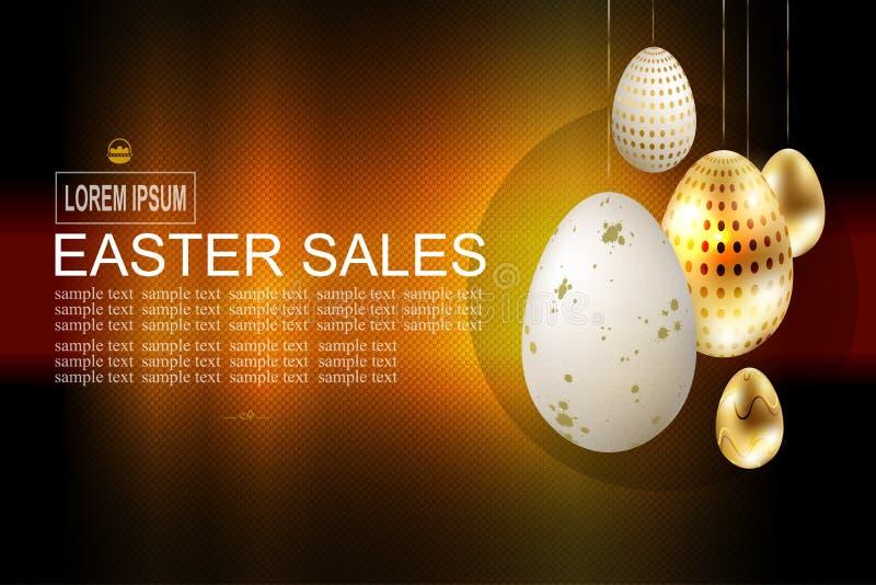 Mörk textursammansättning för påsk med guld- och vita ägg, vektor illustrationer