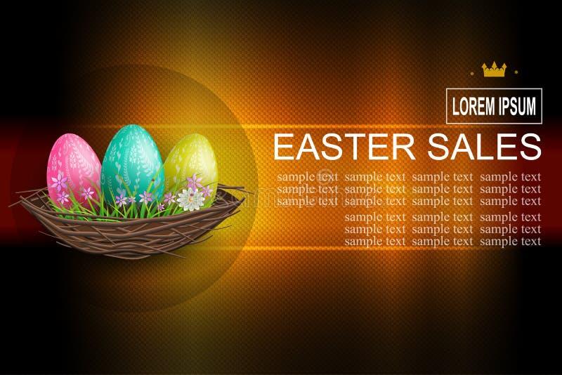Mörk textursammansättning för påsk med tre ägg i ett rede, stock illustrationer