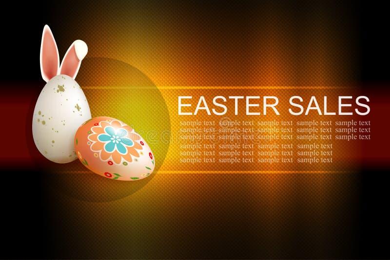 Mörk textursammansättning för påsk med två ägg och kaninöron, royaltyfri illustrationer
