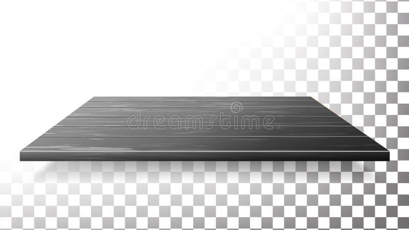 Mörk trätabellöverkant, golv, vägghyllavektor Isolerad realistisk Wood textur vektor illustrationer