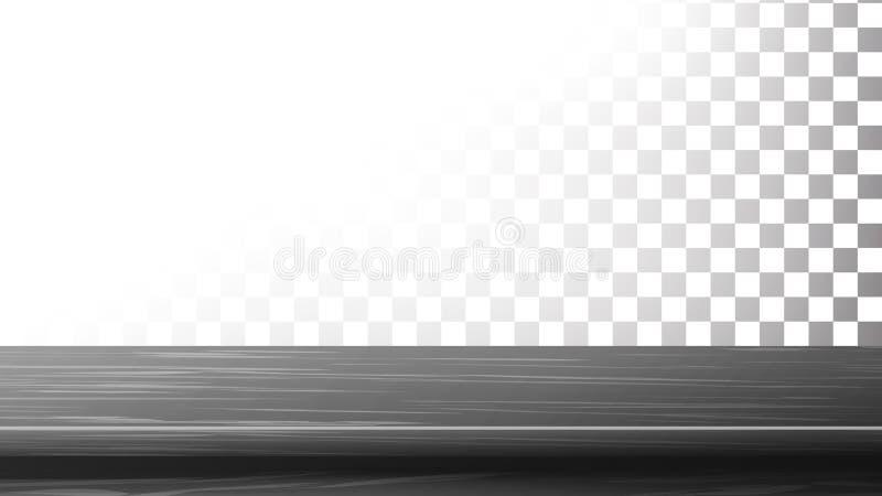 Mörk trävektor för tabellöverkant Töm ställningen för skärm dina produkter Isolerat på genomskinlig bakgrund vektor illustrationer