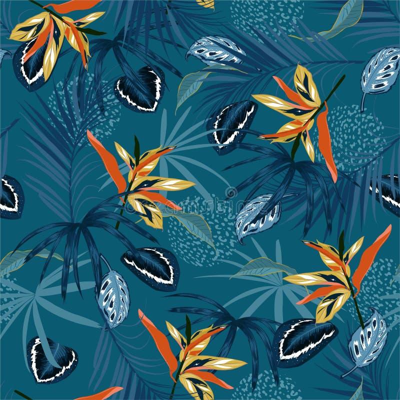 Mörk tropisk djungel för stilfull sömlös modellvektor och entoniga palmblad, exotiska palnts med blom- design för djur hud stock illustrationer