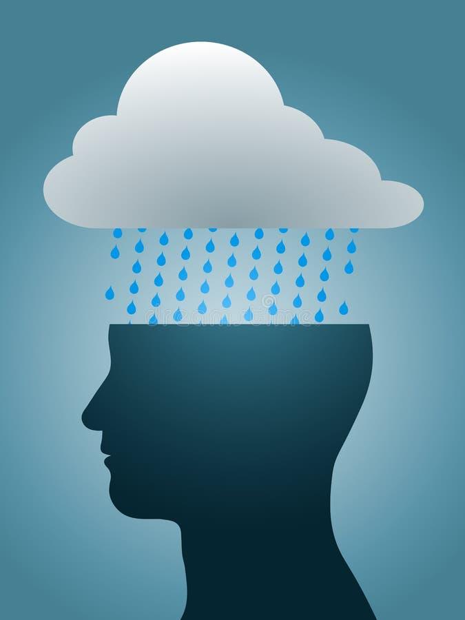 mörk tryckt ned head regnsilhouette för oklarhet stock illustrationer