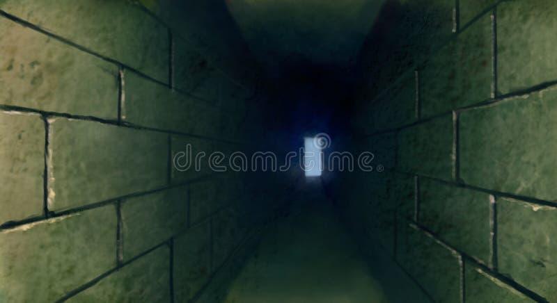 Mörk tunneltunnelbanaillustration arkivbilder