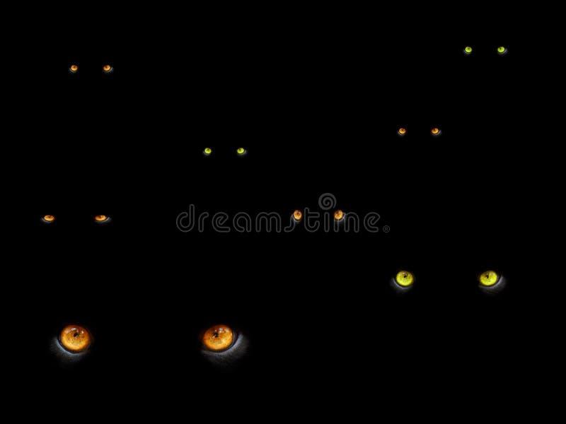 mörka ögon för katter vektor illustrationer