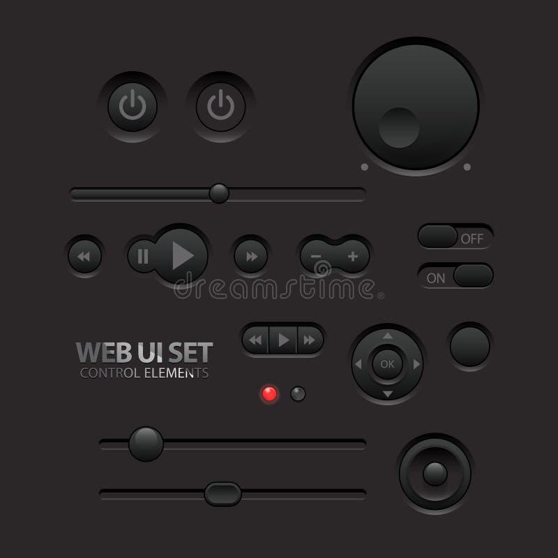 Mörka beståndsdelar för rengöringsduk UI. Knappar strömbrytare, stänger royaltyfri illustrationer