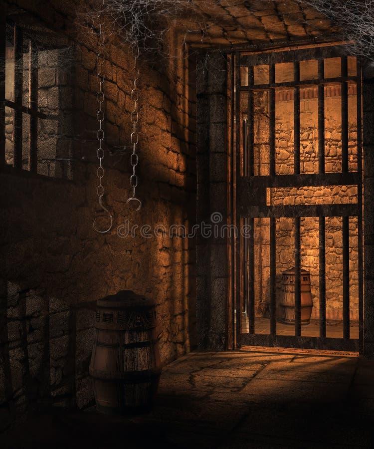 Mörka celler i en fängelsehåla stock illustrationer