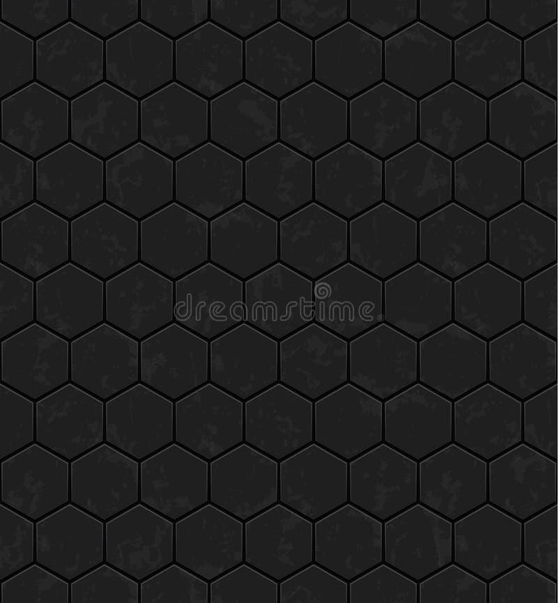 Mörka gråa sexhörningar av metall, sten seamless texturvektor seamless teknologi för modell royaltyfri illustrationer