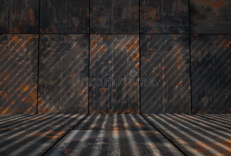 Mörka Grungy Rusty Metal Room stock illustrationer