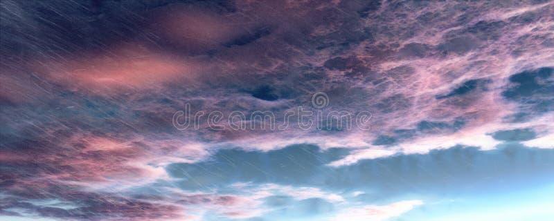 Mörka himmel, regn och moln royaltyfri illustrationer