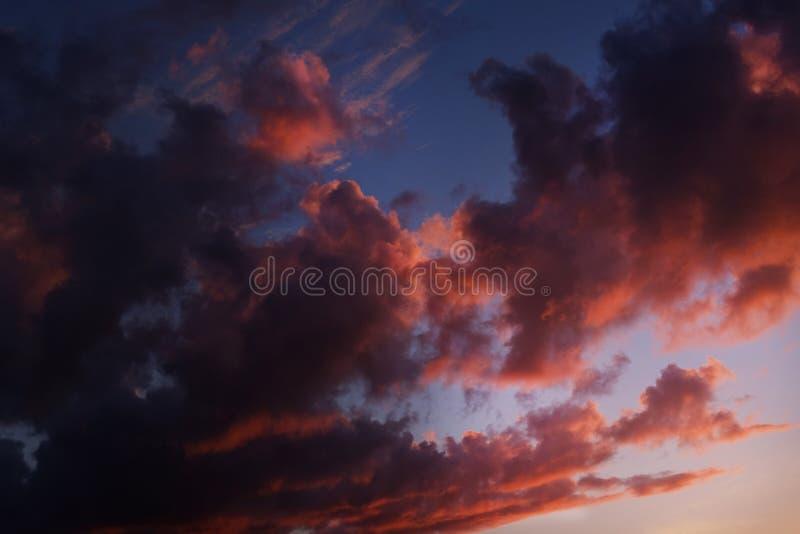 Mörka ljusa rosa och purpurfärgade moln i blå himmel royaltyfri bild