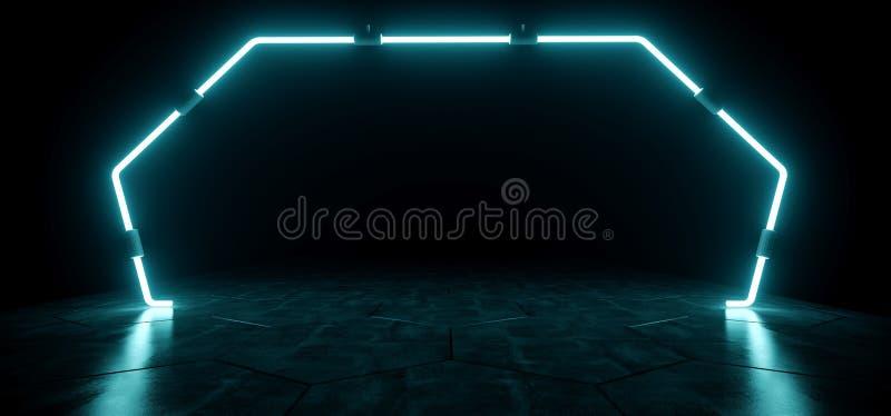 Mörka moderna futuristiska främmande reflekterande tömmer rum med blått Neo royaltyfri illustrationer