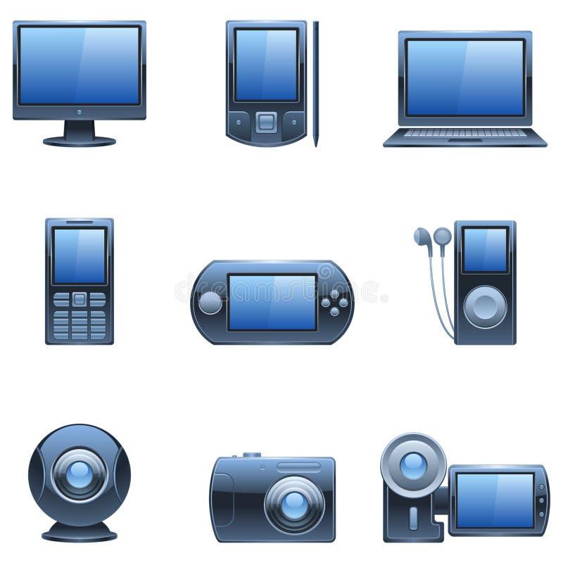 mörka symbolsmedel nio för blå dator royaltyfri illustrationer