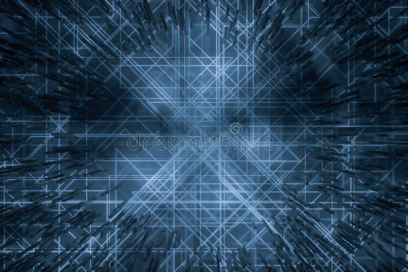Mörka teknologiska linjer bakgrund med kuber och linjer, tolkning 3d stock illustrationer