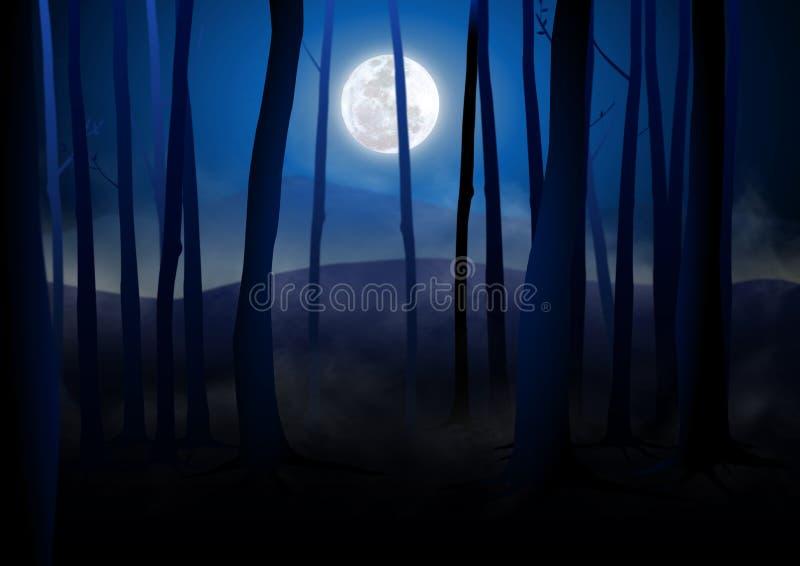 mörka trän royaltyfri illustrationer