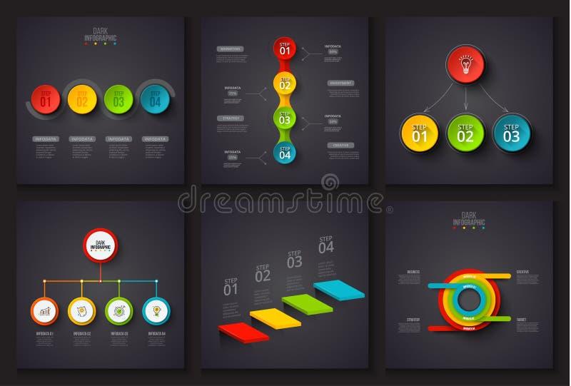 Mörka vektorbeståndsdelar för infographic Mall för diagram, graf, presentation och diagram Affärsidé med 3, 4 royaltyfri illustrationer