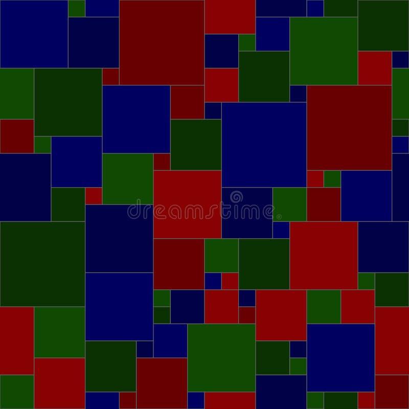 Mörkblå gröna röda fyrkanter skarvlöst mönster för vektor enkla geometriska former textilfärg upprepande bakgrund infrastrukturfä stock illustrationer