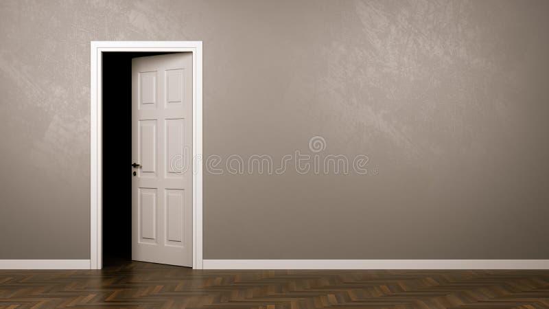 Mörker bak dörren stock illustrationer