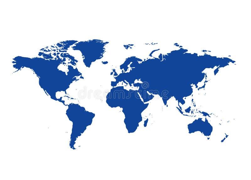 Mörker - blå översikt av världen - kontinenter vektor illustrationer