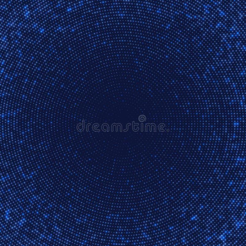 Mörker - blå abstrakt bakgrund med ljusa cirklar vektor illustrationer