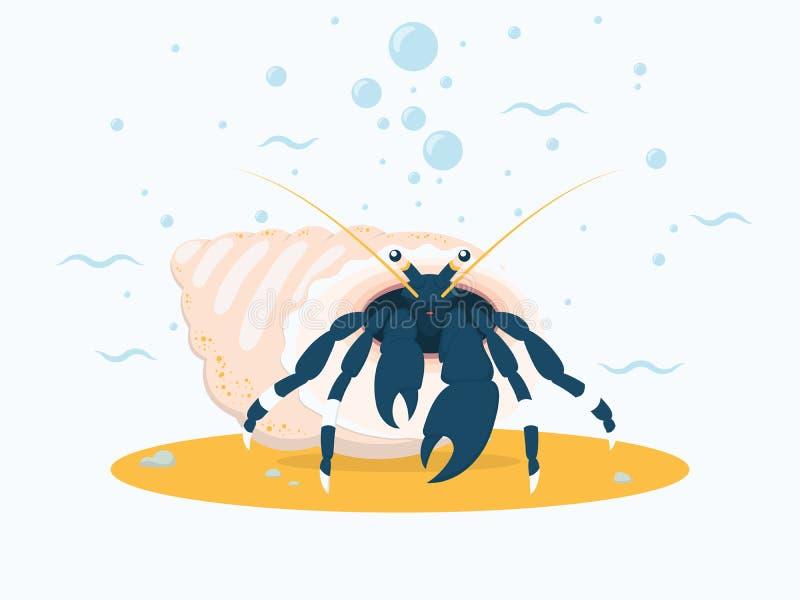 Mörker - blå eremitkrabba på havsbottnen Bakgrund med tecknad filmhavsvarelsen, vågor och kulor stock illustrationer