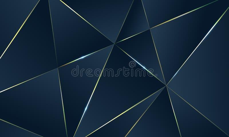 Mörker - blå högvärdig bakgrund med lyxiga polygonal modell- och guldtriangellinjer stock illustrationer