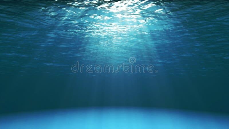 Mörker - blå havyttersida som ses från undervattens- royaltyfria foton