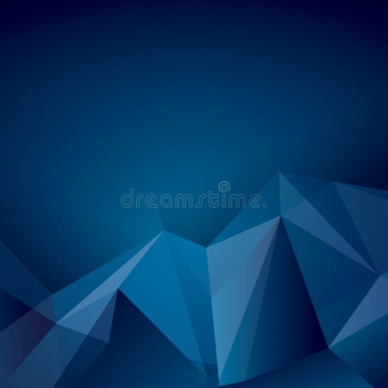 Mörker - blå polygonal vektorbakgrund stock illustrationer