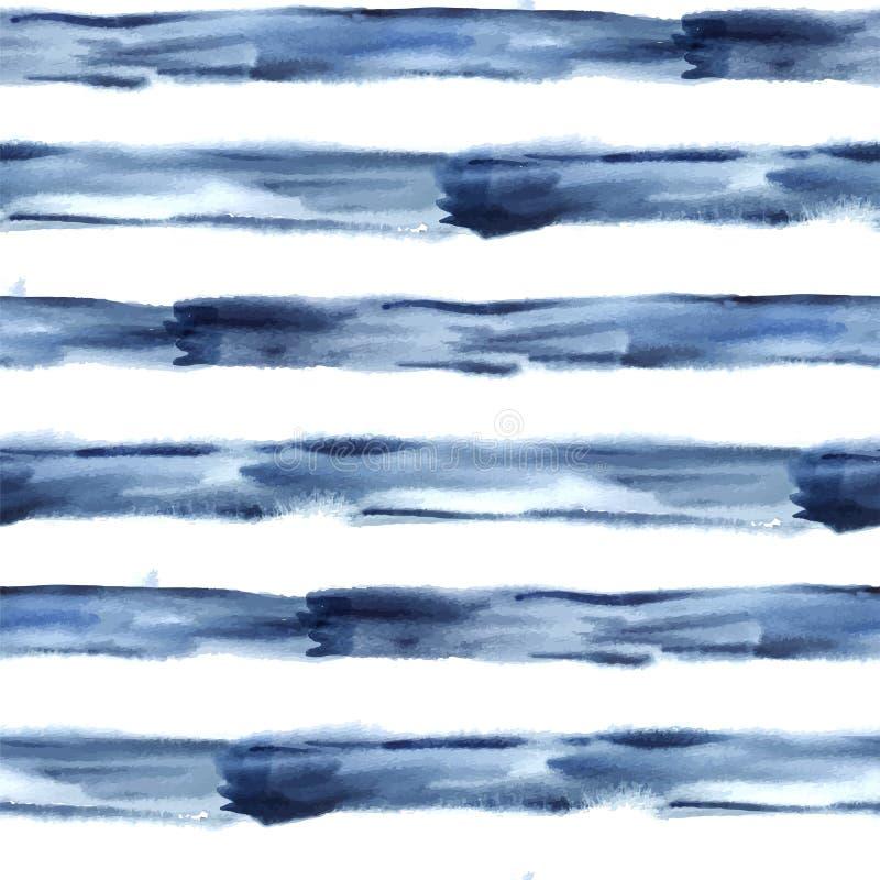 Mörker - blå sömlös vektorabstrakt begreppvattenfärg stock illustrationer