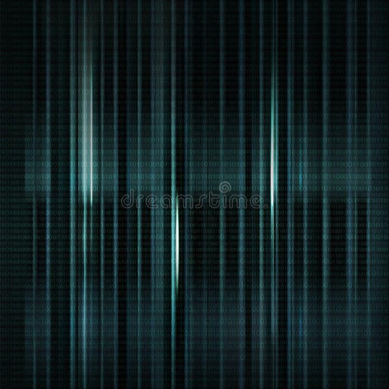 Mörker - blå suddig bakgrund med binär kod i vektor Vertica stock illustrationer