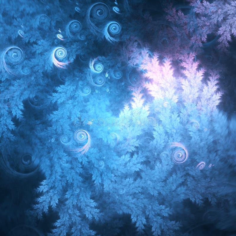 Mörker - blåa fractalträdfilialer royaltyfri illustrationer