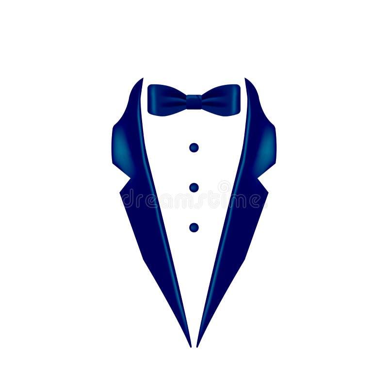 mörker - blått färgad symbol för flugasmokingkrage Beståndsdel av aftonmenswearillustrationen Högvärdig kvalitets- symbol för gra stock illustrationer
