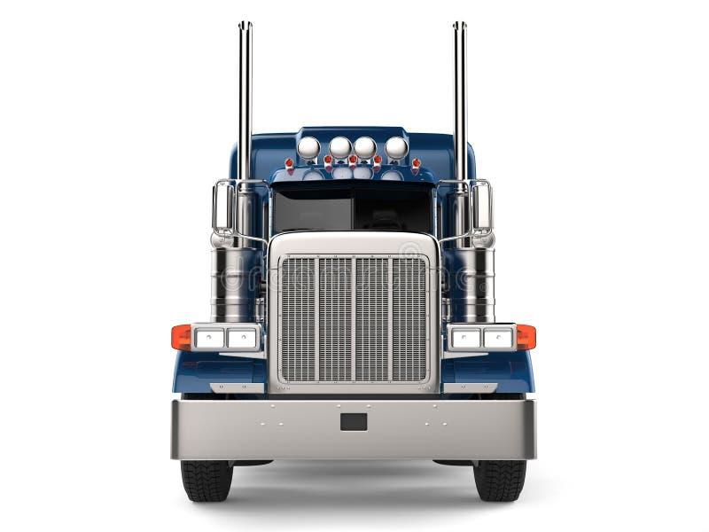 Mörker - blått halvt - släplastbil - främre sikt royaltyfri illustrationer