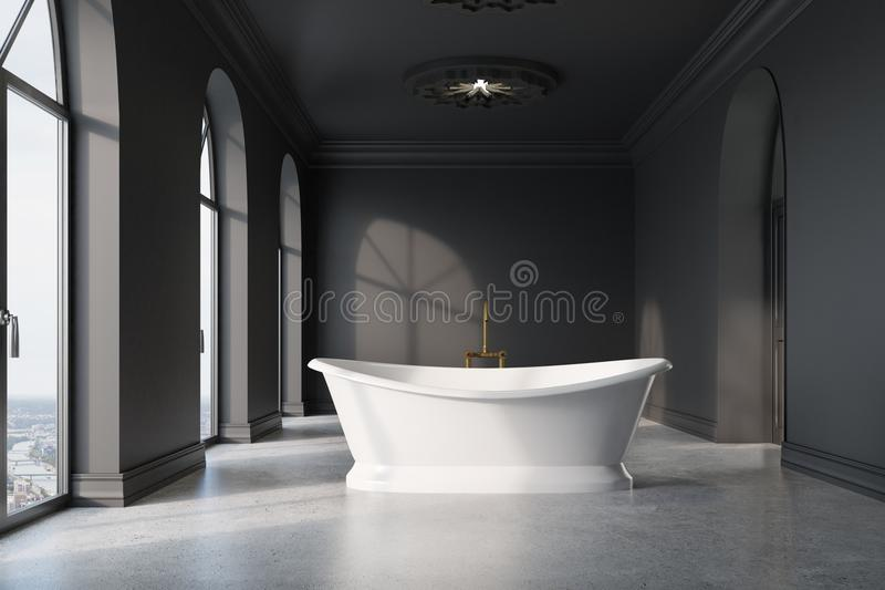 Mörker - det gråa badrummet, original- vit badar royaltyfri illustrationer