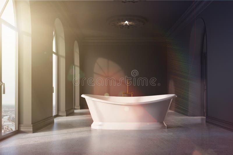 Mörker - det gråa badrummet, original- vit badar tonat stock illustrationer
