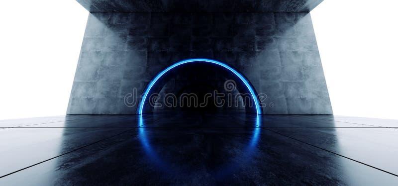 M?rker f?r former f?r oval f?r Grungetunnel f?r b?ge konkret f?r Sci Fi f?r korridor etapp futuristisk laser vibrerande bl?tt gl? royaltyfri illustrationer