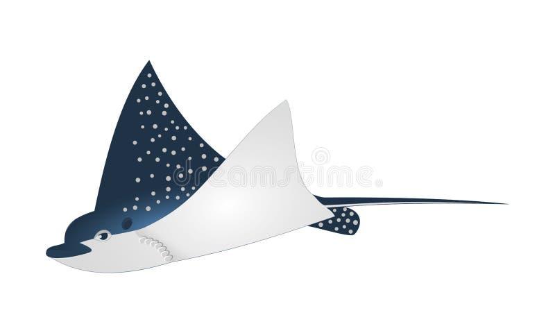 Mörker för vektor för fisk för Mantastråle - det blåa prickiga teckenet för tecknade filmen för havsdjuret med länge sticker svan stock illustrationer