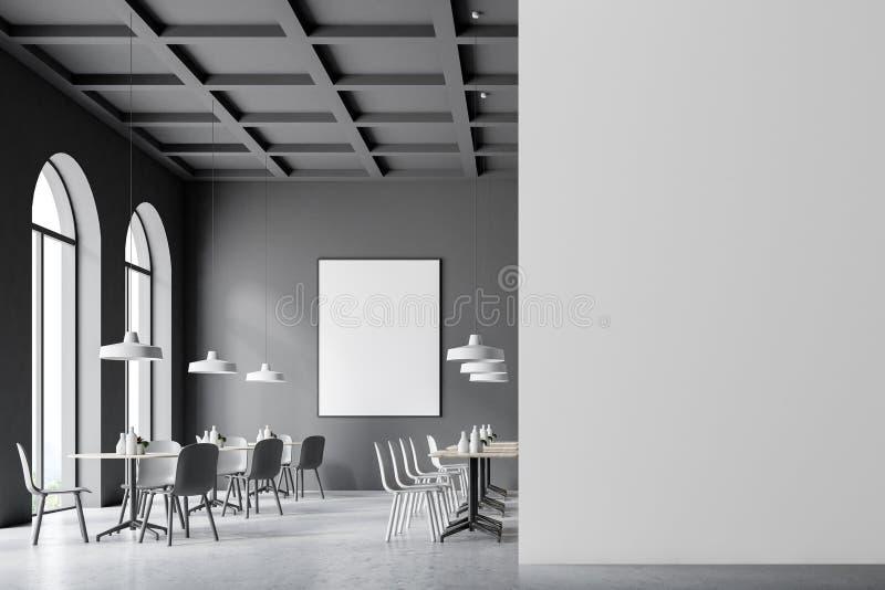 Mörker - grå kaféinre, affischåtlöje upp väggen vektor illustrationer
