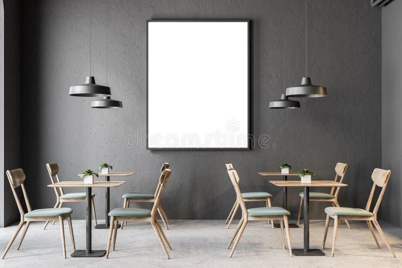 Mörker - grå väggbarinre, affischram royaltyfri illustrationer